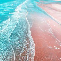 Sea Blue + Rose Gold Wallpaper