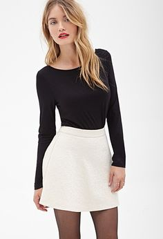 Matelassé Skater Skirt $17.80 at Forever 21  http://www.forever21.com/Product/Product.aspx?BR=f21&Category=whatsnew_app&ProductID=2000122732&VariantID=021