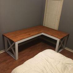 L Shaped Double X Desk - Handmade Haven Woodworking Projects Desk, Diy Corner Desk, Diy Wood Desk, Diy Desk Plans, Home Diy, Desk Plans, Diy Dining Table, Diy Office Desk, Home Decor