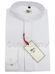 MENS PLAIN WHITE GRANDAD COLLAR SHIRT