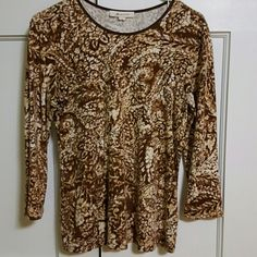 "JM Collection  Top Brown and cream pattern top. Round neck. 3/4 Length sleeves.  24 1/2"" length JM Collection Tops Tees - Long Sleeve"