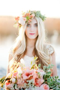 Peach and blush #flowercrown | Kristina Curtis Photography | See more on http://burnettsboards.com/2014/01/mother-daughter-inspiration-shoot...