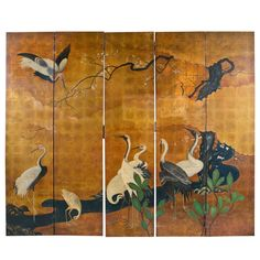 Hand Painted Japanese Screen | 1stdibs.com