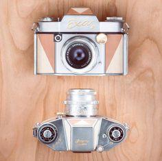 Exa with 24K gold and light wood veneer #exa #filmcamera #analog #filmphotography #35mm #35mmfilm #gold #wooden #24k #cameraporn #handmade #handcrafted