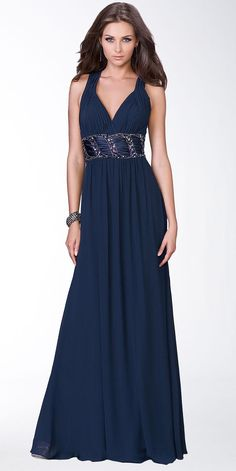 short navy chiffon sailor bridesmaid dresses | Long Dark Navy V-Neck Chiffon Evening Dress | Dresses