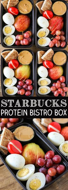 One of my favorite healthier on the go lunch or breakfast ideas is a Starbucks Protein Bistro Box. They recently updated it with even more protein by adding an extra hard boiled egg. My DIY version of Starbucks Protein Bistro Box is incredibly easy to make, and great for breakfast or lunch. Hardboiled eggs sprinkled … Starbucks Lunch, Starbucks Bistro Box, Starbucks Protein Box, Dinner Healthy, Quick Healthy Meals, Healthy Protein Snacks, Vegetarian Recipes Dinner, Easy Meals, Easy Dinner Recipes