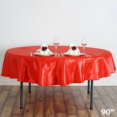 "90"" RED Wholesale SATIN Round Tablecloth For Wedding Banquet Restaurant"