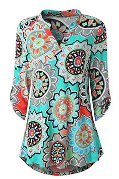 Zattcas Womens Floral Printed Tunic Shirts 3/4 Roll Sleev... https://www.amazon.com/dp/B07CZFK19P/ref=cm_sw_r_pi_dp_U_x_0rzaBbJA99J96