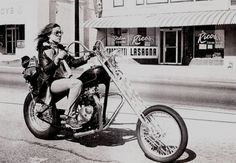Vintage Babe on Chopper #vintage #motorcycle #chopper