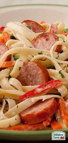 Shake up your next pasta night by adding some Hillshire Farm® Smoked Sausage into the mix! Smoked Sausage Alfredo with Vegetables is super easy to make and even easier to eat! Find this recipe and more easy dinner ideas here!