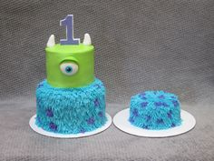 Monsters Inc/Monsters University themed birthday cake and smash cake for baby's first birthday.