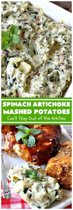 Spinach Artichoke Mashed Potatoes - Can't Stay Out of the Kitchen Potatoe Casserole Recipes, Mashed Potato Recipes, Casserole Dishes, Cheesy Red Potatoes, Garlic Mashed Potatoes, Baked Potatoes, Potatoes Romanoff Recipe, Prime Rib Roast, Spinach Bake