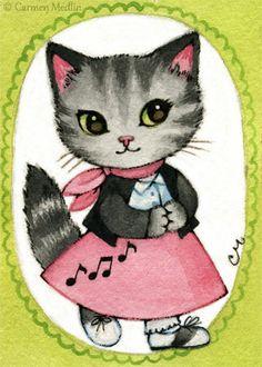 """Bitsy"" cute 1950s retro bobby socks cat art by Carmen Medlin. 5x7"" print, $5.25"