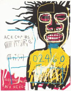 """Jean Michel Basquiat : self portrait. One of the pioneers on the graffiti movement. Basquiat museum with original real size walls of his murals. Such a legend. Jean Michel Basquiat Art, Jm Basquiat, Basquiat Prints, Basquiat Artist, Graffiti, Keith Haring, Illustration Arte, Illustrations, Art Andy Warhol"