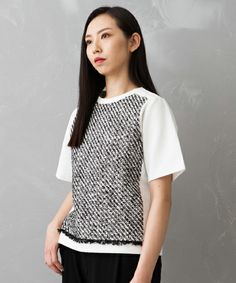 UNITED TOKYO WOMENS(ユナイテッドトウキョウウィメンズ)の【UNITED TOKYO】ラバーヤーンツイードプルオーバー(Tシャツ/カットソー)|ブラック