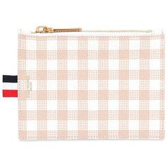 Thom Browne Women Small Gingham Printed Grained Coin Purse ($470) ❤ liked on Polyvore featuring bags, wallets, orange, stripe bag, coin pouch wallet, stripe wallet, logo bags and zip top bag