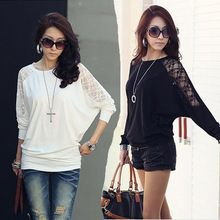 2015 Spring Long Sleeve Lace Crew Neck Dolman Batwing Tee Shirt Casual Loose Women Shirts Top Black White Free Shipping(China (Mainland))