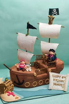 Pirate Ship Cake by Studiocake Fancy Cakes, Cute Cakes, Fondant Cakes, Cupcake Cakes, Pirate Ship Cakes, Pirate Boat Cake, Pirate Theme, Cakes For Boys, Celebration Cakes
