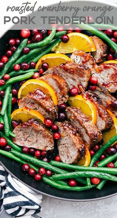 christmas recipes dinner Roasted Cranberry Orange Pork Tenderloin with Green Beans is such a flavorful and easy meal. The cranberry orange glaze is perfect on top of the pork and green beans. This will be the star of your holiday dinner table! Roasted Pork Tenderloins, Pork Loin, Pork Recipes, Cooking Recipes, Healthy Recipes, Cooking Pork, Healthy Pork Tenderloin Recipes, Cooking Broccoli, Skillet Recipes