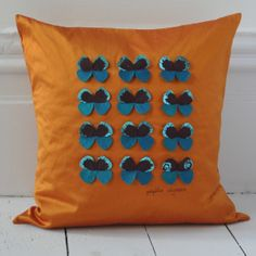 Silk cushion with individually hand made butterflies. Burnt orange with 12 turquoise butterflies square : x . Hand Printed Fabric, Orange And Turquoise, Decorative Cushions, Burnt Orange, Beautiful Hands, Personalized Gifts, Unique Gifts, Butterfly, Colours