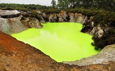Flourescent Pool The unbelievable colour of one of the hot pools at Rotorua due to mineral / sulphur deposits in it. New Zealand Rotorua New Zealand, North Island New Zealand, Travel Log, Fantasy Places, New Zealand Travel, Nature Images, Cool Pools, Beautiful World, Beautiful Scenery