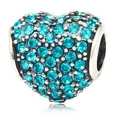 Everbling Heart with Paved Turquoise Austrian Crystal December Birthstone Authentic 925 Sterling Silver Charm Bead Fits Pandora Chamilia Biagi Troll Charms Europen Style Bracelets