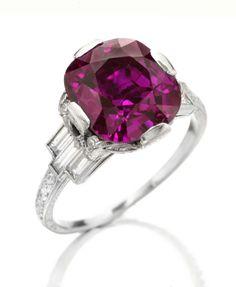 An Art Deco Purple Sapphire Ring
