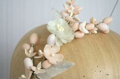 Pale peach wax flowers and stamens headpiece by PapillonsDeLeticia, £90.00
