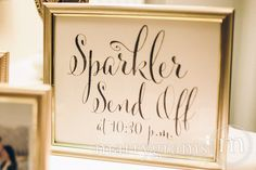 Sparkler Send Off Sign - Sparklers Wedding Reception Signage - Cute Favor Table Sendoff Sign with Time - Matching Numbers Available SS07 by marrygrams on Etsy https://www.etsy.com/listing/211853917/sparkler-send-off-sign-sparklers-wedding