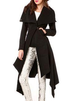 Modern Long Sleeve Button Closure Woman Coat Black