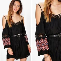 """NWT Boho Embroidered Open Shoulder Romper Sz 6 Fabric:100% Viscose.Flat Measurement:Total Length 31"""",Waist 22"""" Bust 32"""" Sleeve 18.5"""".Machine Wash.Model Wears Size 6.Belt not included. Not Asos brand but purchased at Asos.com. ASOS Pants Jumpsuits & Rompers"""