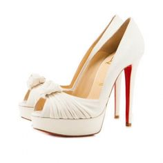 Christian Louboutin Greissimo White Peep Toe Pumps - $107.48