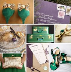 emerald green, gold & plum...!!!!!!!!!!!! great way to use both plum & emerald! you CAN have both  : )