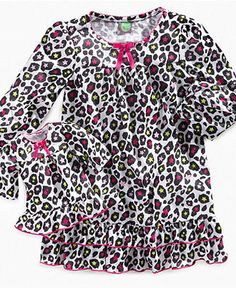 Dollie & Me Kids Sleepwear, Girls or Little Girl Gown and Matching Doll Set - Kids Girls 2-6X - Macy's