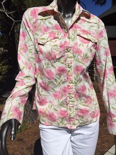 Lucky Brand Small Snap Button Pink Floral Cotton Top Blouse Mint Free Ship    eBay