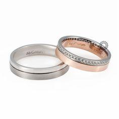 Βέρες γάμου Facadoro 33Α/33Γ - Ένα μοντέρνο σχέδιο από βέρες FaCadoro. Η γυναικεία μπορεί να είναι ένα πολύτιμο δαχτυλίδι με διαμάντια | ΤΣΑΛΔΑΡΗΣ #βέρες #βερες #γάμου