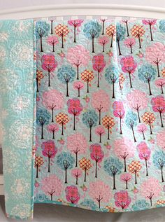 Modern Baby Girl Quilt with Colorful Trees and Flowers Pretty Little Things Pink Teal Blue Handmade Baby Quilt- beautiful fabric