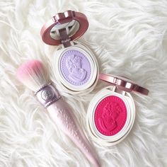 """Les Merveilleuses de Laduree Spring 2016 Pressed Cheek Color in 107 (pink) and 108. (purple). A collector of their makeup brushes, I can't resist picking…"""