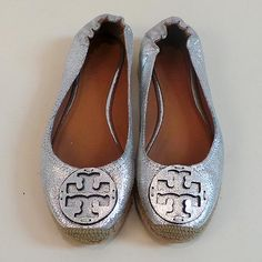 Silver Tory Burch espadrille flats, size 6.5  Find more unique consignment pieces at www.revolverboutique.com