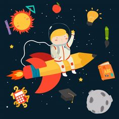 Hand drawn kid in the space background Free Vector Space Backgrounds, Backgrounds Free, Space Illustration, School Posters, Emotion, Kids Poster, Elementary Art, Kids Education, Funny Kids