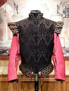 Men's Renaissance Elizabethan DOUBLET Cavalier SCA Costume Black Jerkin Vest