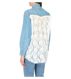 FORTE COUTURE Taylor fringed lace and denim shirt (Blue