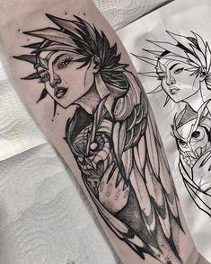 Valkerie Tattoo, Leg Tattoos, Forearm Tattoo Men, Tattoo Drawings, Body Art Tattoos, Tattoo Sketches, Greek Goddess Tattoo, Greek Mythology Tattoos, Athena Tattoo