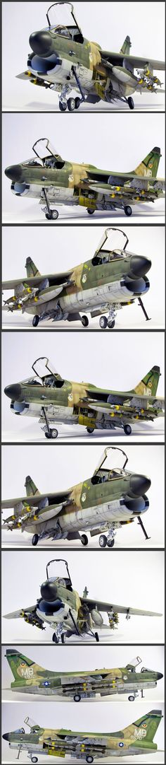 Realistic model of the Vought A-7 Corsair II. Designed for the Navy to replace the A-4. Adopted by USAF to replace F-100. Rugged, subsonic, swept wing, single seat attack bomber. Powerplant PW TF-30. Carried up to 20K lbs of ordnance.
