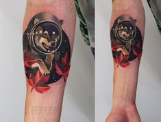 Space Dog! Tattoo by the beautiful and talented Ms. Sasha Unisex. This totally looks like a shiba!
