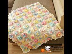 How to crochet flower afghan blanket free easy pattern tutorial for begginer - YouTube