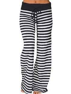 6e981c6f715 Famulily Women s Stretch Comfy Striped Drawstring Wide Leg High Waisted  Pajama Pants - Now Fashion Shop