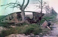 The wreck of a German tank, which was destroyed during a battle on the Western Front.