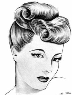 Vintage Makeup Victory Rolls example - Hairstyles Tutorial Book - Victory rolls - one of the most copied pinup hair dos of the Waves, pin curls, bumper bangs, pompadours, the was all about updos ! Vintage Hairstyles Tutorial, 1940s Hairstyles, Hairstyle Tutorials, Makeup Tutorials, Wedding Hairstyles, Wedding Updo, Wedding Rings, Vintage Makeup, Vintage Updo
