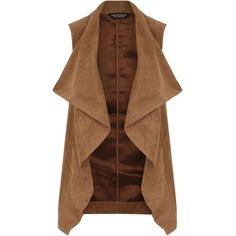 Dorothy Perkins Tan Suedette Waterfall Gilet ($49) ❤ liked on Polyvore featuring outerwear, vests, brown, tan vest, brown waistcoat, waterfall vest, draped vest and dorothy perkins